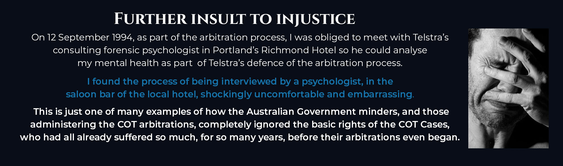 Absent Justice - Further Insult to Injustice