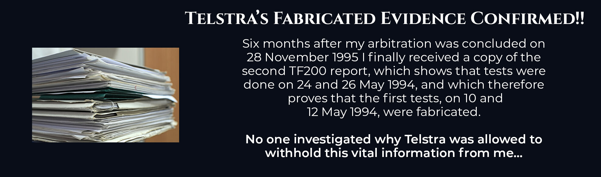 Absent Justice - Telstras Fabricated Evidence Confirmed
