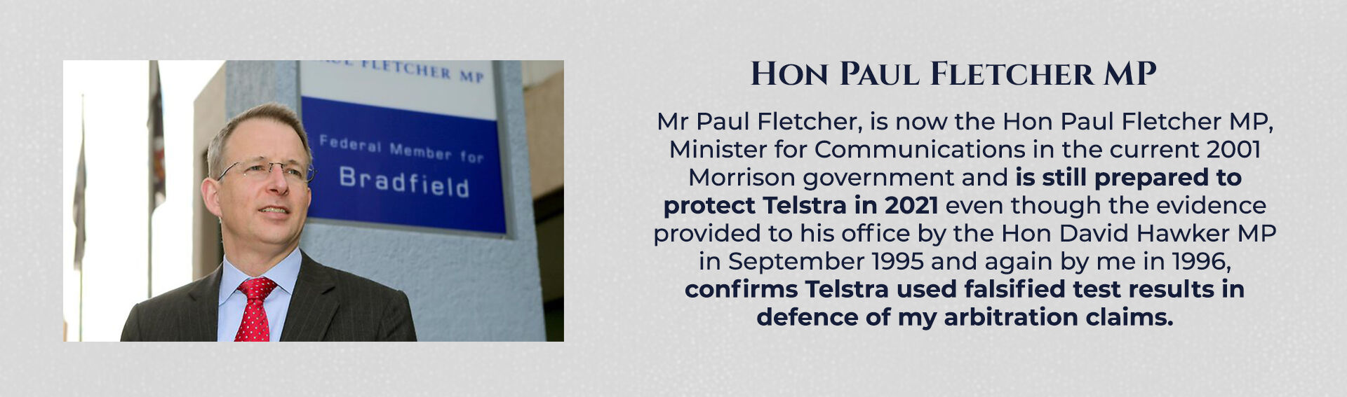 Absent Justice - Hon Paul Fletcher MP