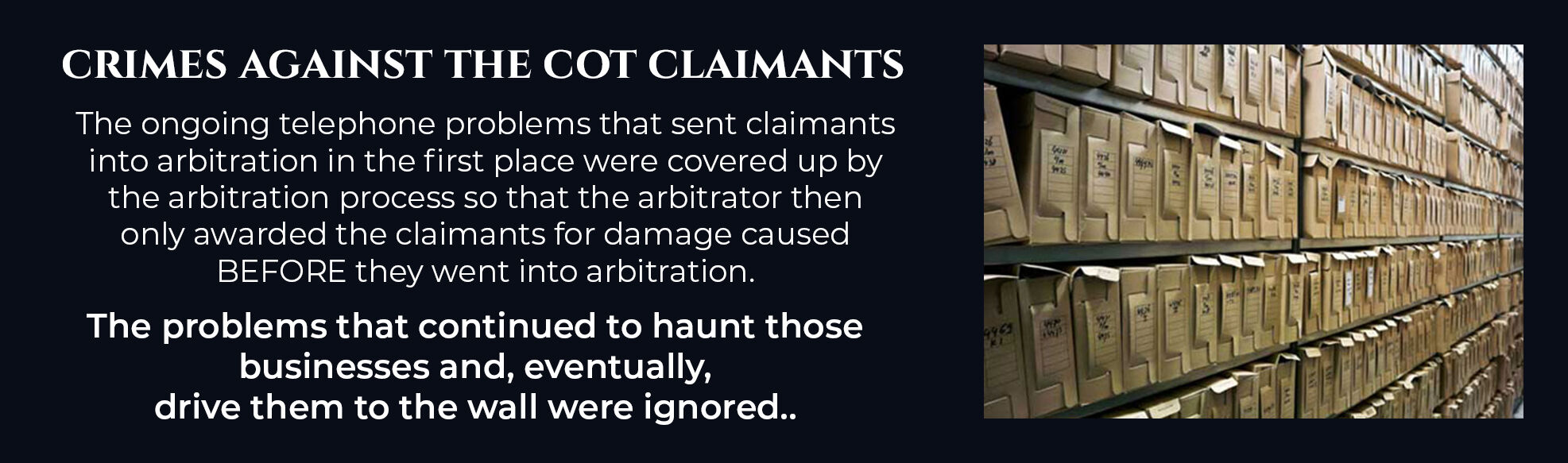 Absent Justice - Crimes Against the COT claimants