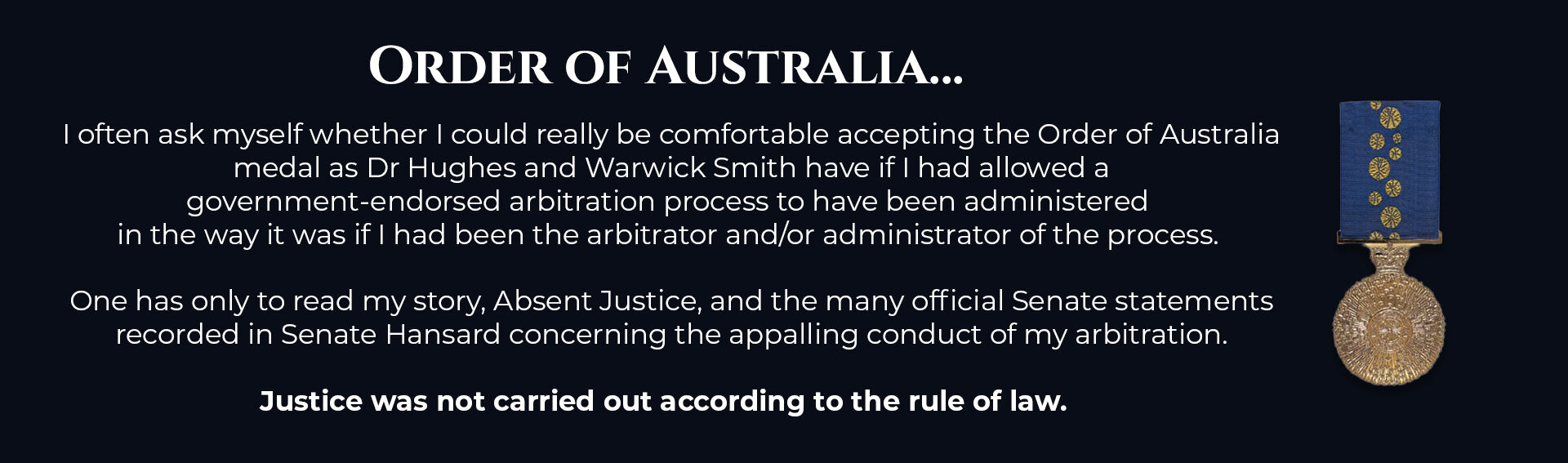 Absent Justice - Order of Australia